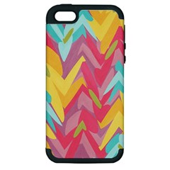 Paint Strokes Abstract Design Apple Iphone 5 Hardshell Case (pc+silicone) by LalyLauraFLM
