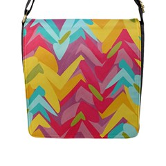 Paint Strokes Abstract Design Flap Closure Messenger Bag (large) by LalyLauraFLM