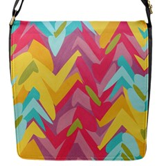 Paint Strokes Abstract Design Flap Closure Messenger Bag (small) by LalyLauraFLM