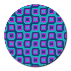 Blue Purple Squares Pattern Round Mousepad by LalyLauraFLM