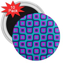 Blue Purple Squares Pattern 3  Magnet (10 Pack) by LalyLauraFLM