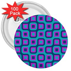 Blue Purple Squares Pattern 3  Button (100 Pack) by LalyLauraFLM