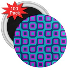 Blue Purple Squares Pattern 3  Magnet (100 Pack) by LalyLauraFLM