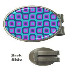 Blue Purple Squares Pattern Money Clip (oval) by LalyLauraFLM