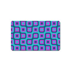 Blue Purple Squares Pattern Magnet (name Card) by LalyLauraFLM