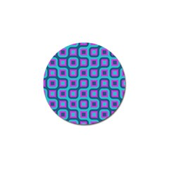 Blue Purple Squares Pattern Golf Ball Marker by LalyLauraFLM