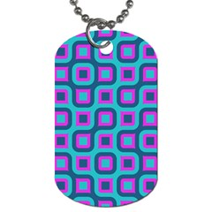 Blue Purple Squares Pattern Dog Tag (two Sides) by LalyLauraFLM