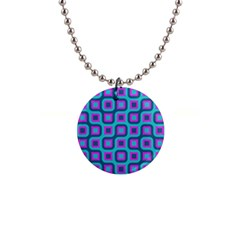 Blue Purple Squares Pattern 1  Button Necklace by LalyLauraFLM