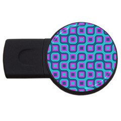 Blue Purple Squares Pattern Usb Flash Drive Round (4 Gb) by LalyLauraFLM