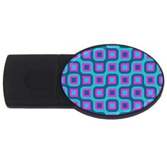 Blue Purple Squares Pattern Usb Flash Drive Oval (4 Gb) by LalyLauraFLM