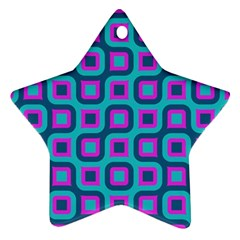 Blue Purple Squares Pattern Star Ornament (two Sides) by LalyLauraFLM