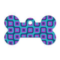 Blue Purple Squares Pattern Dog Tag Bone (one Side) by LalyLauraFLM