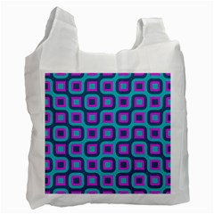 Blue Purple Squares Pattern Recycle Bag (one Side) by LalyLauraFLM