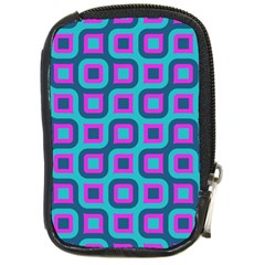 Blue Purple Squares Pattern Compact Camera Leather Case by LalyLauraFLM