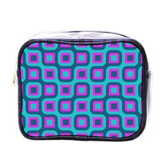 Blue Purple Squares Pattern Mini Toiletries Bag (one Side) by LalyLauraFLM