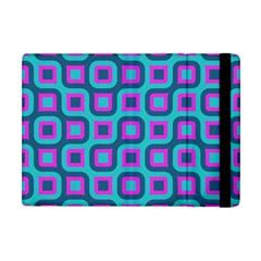 Blue Purple Squares Pattern Apple Ipad Mini Flip Case by LalyLauraFLM