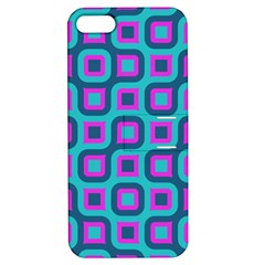 Blue Purple Squares Pattern Apple Iphone 5 Hardshell Case With Stand by LalyLauraFLM