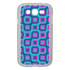 Blue Purple Squares Pattern Samsung Galaxy Grand Duos I9082 Case (white) by LalyLauraFLM