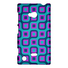 Blue Purple Squares Pattern Nokia Lumia 720 Hardshell Case by LalyLauraFLM