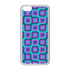 Blue Purple Squares Pattern Apple Iphone 5c Seamless Case (white) by LalyLauraFLM