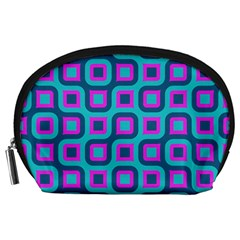 Blue Purple Squares Pattern Accessory Pouch (large) by LalyLauraFLM