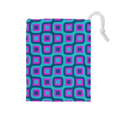 Blue Purple Squares Pattern Drawstring Pouch (large) by LalyLauraFLM