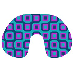 Blue Purple Squares Pattern Travel Neck Pillow by LalyLauraFLM