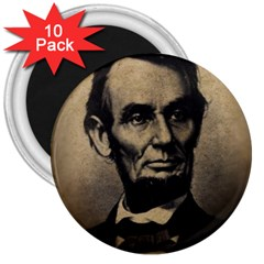 Vintage Civil War Era Lincoln 3  Button Magnet (10 Pack) by bloomingvinedesign