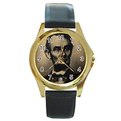 Vintage Civil War Era Lincoln Round Leather Watch (gold Rim)