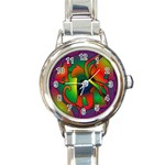 Rainbow Purple Cats Round Italian Charm Watch