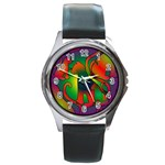 Rainbow Purple Cats Round Leather Watch (Silver Rim)