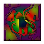 Rainbow Purple Cats Ceramic Tile
