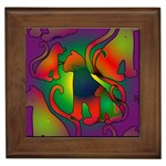 Rainbow Purple Cats Framed Ceramic Tile