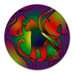 Rainbow Purple Cats 8  Mouse Pad (Round)