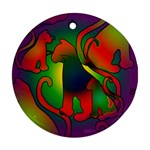 Rainbow Purple Cats Round Ornament