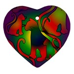 Rainbow Purple Cats Heart Ornament