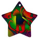Rainbow Purple Cats Star Ornament