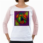 Rainbow Purple Cats Women s Long Cap Sleeve T-Shirt (White)