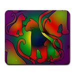 Rainbow Purple Cats Large Mouse Pad (Rectangle)