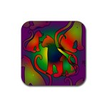 Rainbow Purple Cats Drink Coasters 4 Pack (Square)