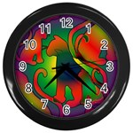 Rainbow Purple Cats Wall Clock (Black)