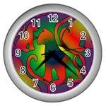 Rainbow Purple Cats Wall Clock (Silver)