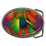 Rainbow Purple Cats Belt Buckle (Oval)