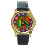 Rainbow Purple Cats Round Leather Watch (Gold Rim)