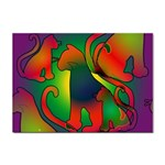 Rainbow Purple Cats A4 Sticker