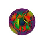 Rainbow Purple Cats Magnet 3  (Round)