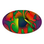 Rainbow Purple Cats Magnet (Oval)