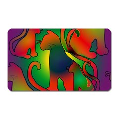 Rainbow Purple Cats Magnet (rectangular) by bloomingvinedesign