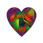 Rainbow Purple Cats Magnet (Heart)
