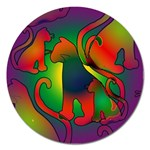 Rainbow Purple Cats Magnet 5  (Round)